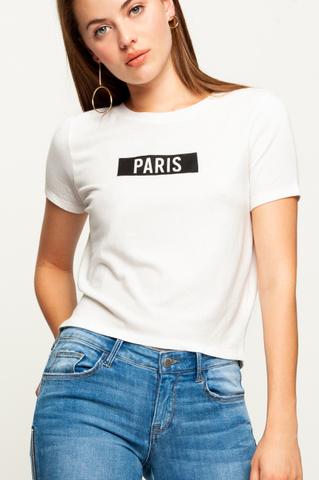 "Biały Top z Napisem ""Paris"""