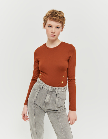 Brown Cropped Buttoned Top