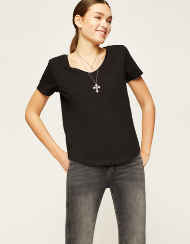 Black Basic V Neck T-Shirt