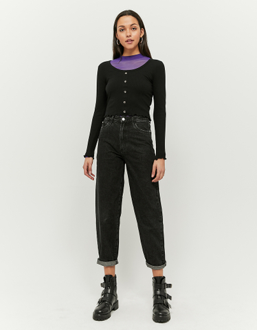 Basic Black Long Sleeves Top