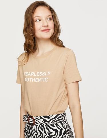 T-Shirt Beige à Slogan
