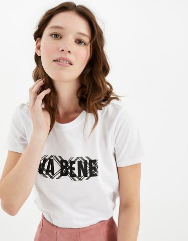 Weißes T-Shirt mit Aufschrift