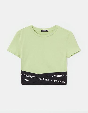 Green Elastic Tape Crop Top