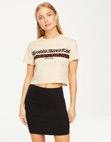 Beiges T-Shirt mit Slogan