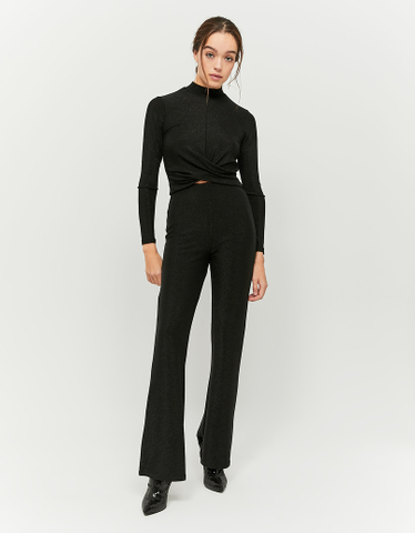 Black Silvery Twisted Top