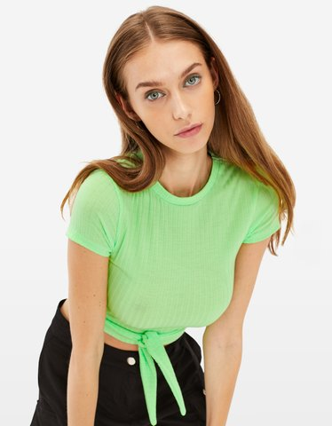 Neon Green Knot Top