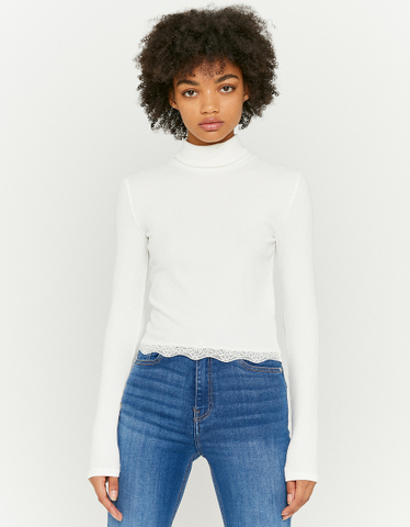 White Top with Lace Hem