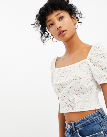 Top Blanc Broderie Anglaise