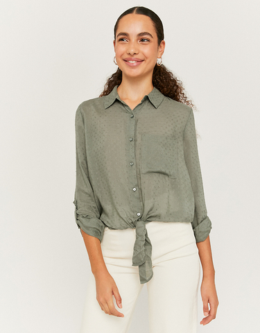 Khaki Hemd mit Knoten