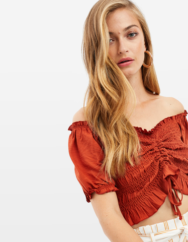 Red Smocked Blouse
