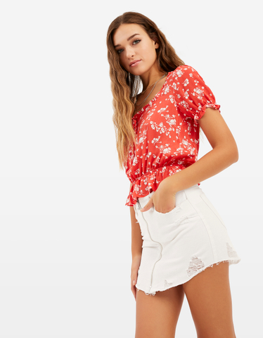 Red Floral Printed Blouse