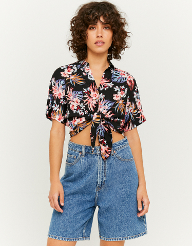 Black Floral Knotted Shirt