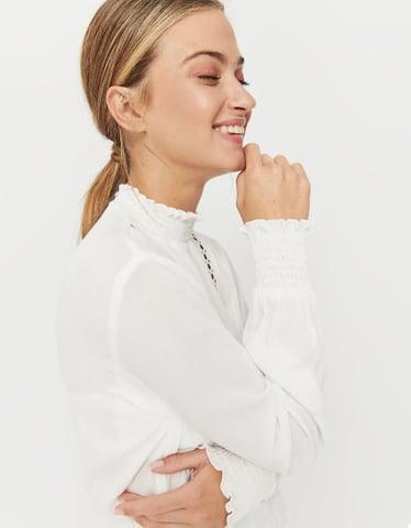 Weiße Boho Bluse