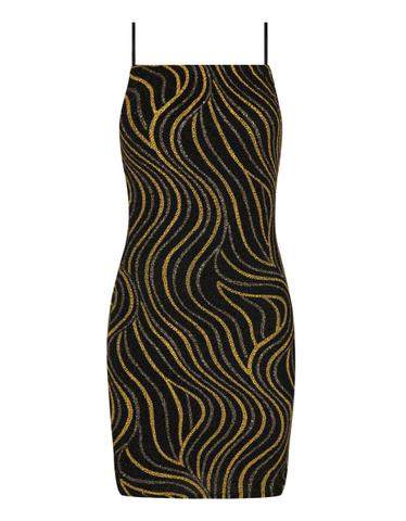 Schwarz-gelbes Glitzer-Kleid
