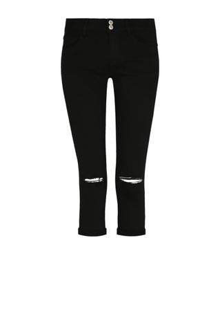 Black Low Waist Capri Skinny Pants