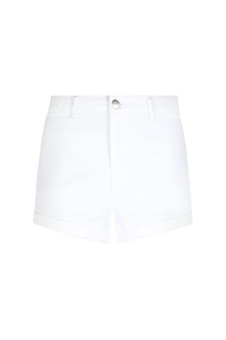 White High Waist Skinny Denim Shorts