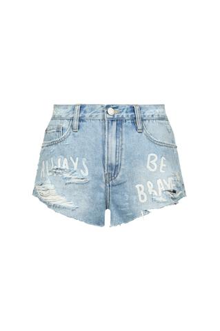 Denim Shorts with Slogan
