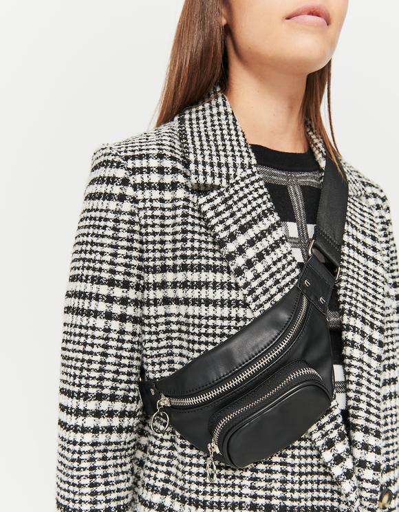 Black Faux Leather Belt Bag