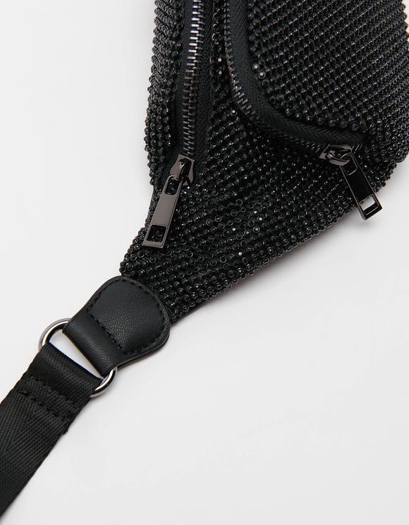 Rhinestone Belt Bag in Black