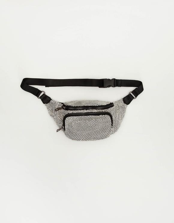 Rhinestone Belt Bag in Silver