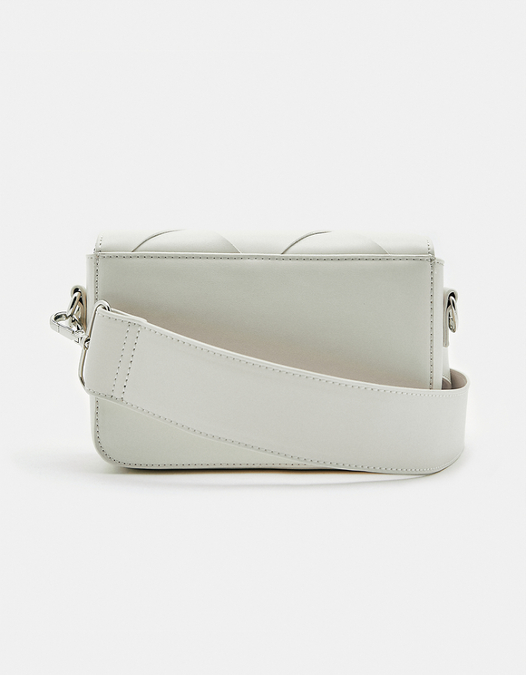 White Faux Leather Crossbody Bag
