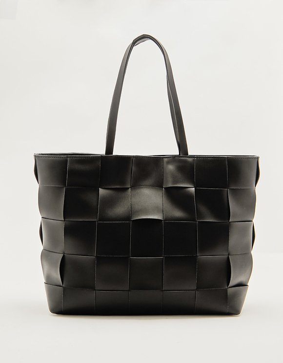 Woven Faux Leather Shopper Bag