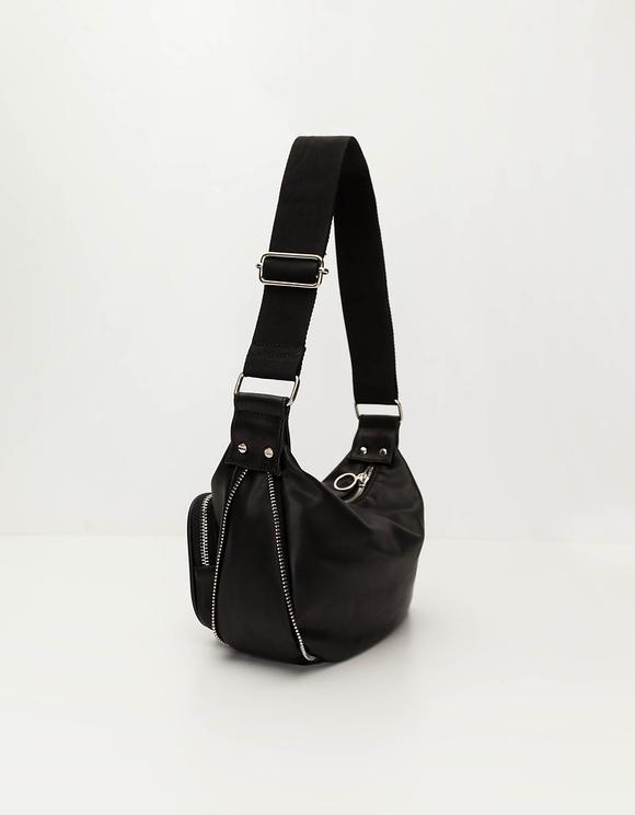 Black Crossbody Bag with Zip Details