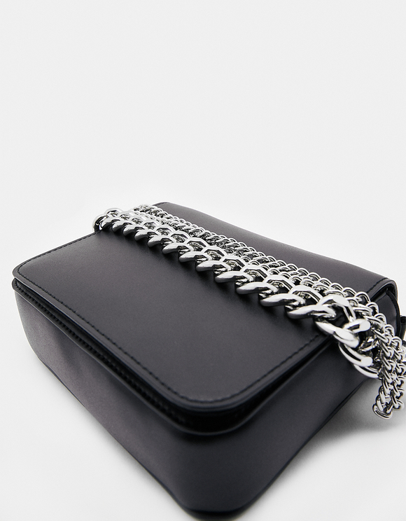 Black Faux Leather Crossbody Bag with Chain