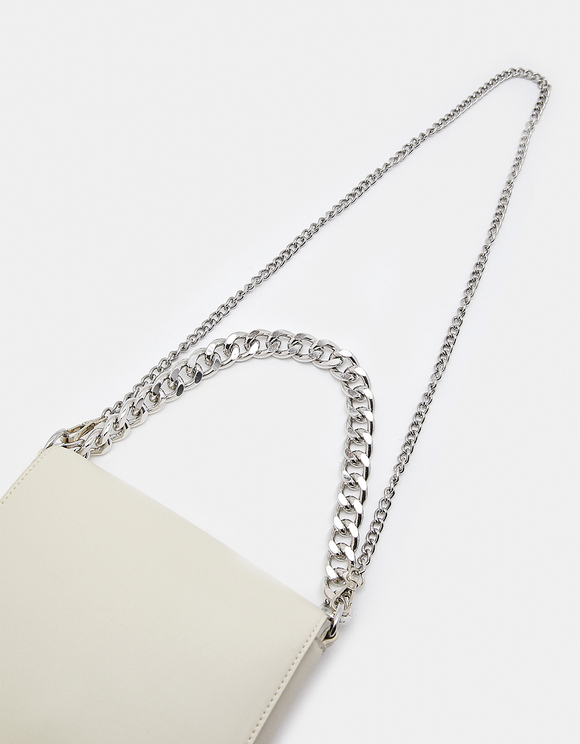 White Faux Leather Crossbody Bag with Chain