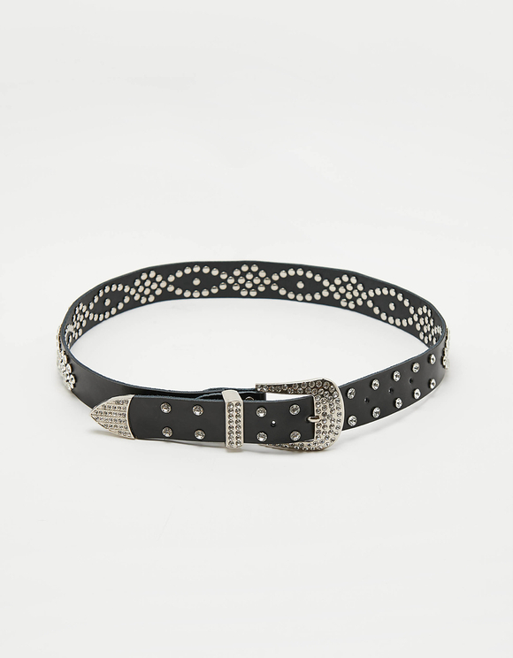 Black Western Belt with Studs