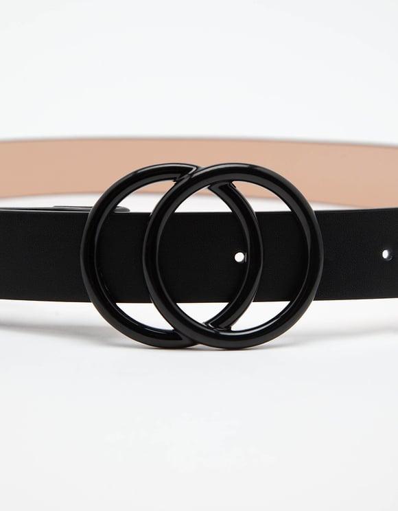 Schwarzer Gürtel mit Doppelring-Schnalle