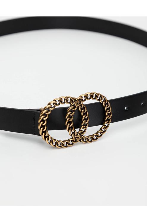 Black Circles Buckle Belt