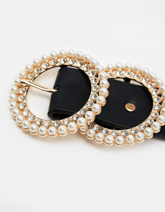 Pearl Buckle Black Belt
