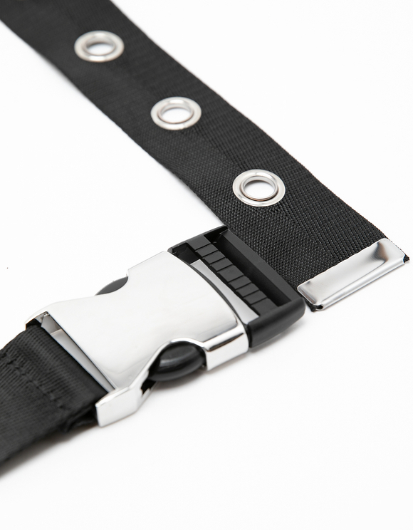Black Safety Buckle-style Belt with Eyelet