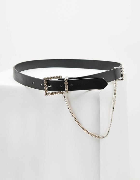 Black Rhinestones Belt with Chain