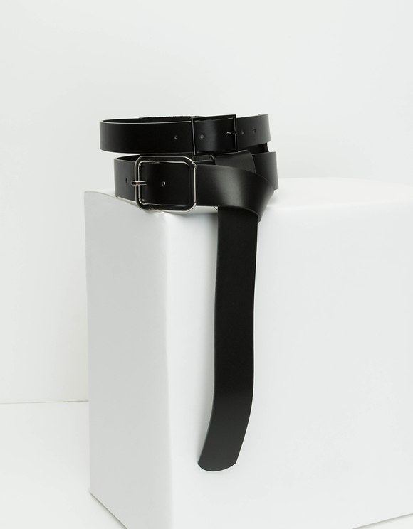 Faux Leather Double Waist Belt