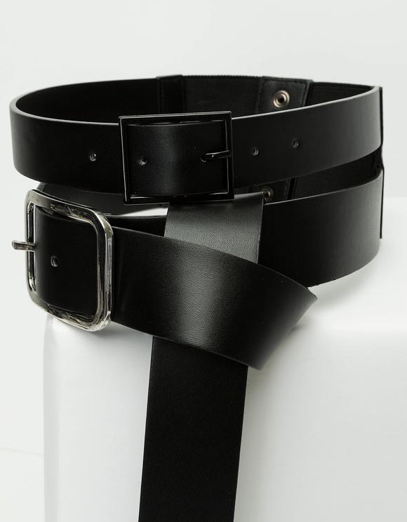 Faux Leather Double Waist Belt
