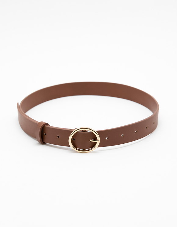 Brown Belt with Gold Circle Buckle
