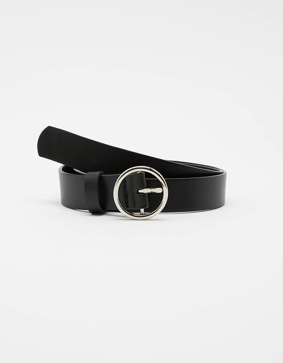 Cintura Nera con Anelli Metallici