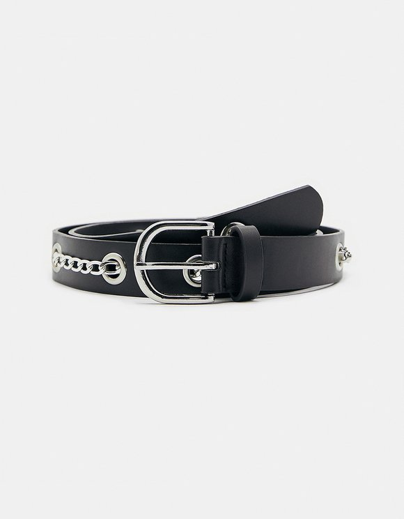 Black Belt with Eyelets and Chains