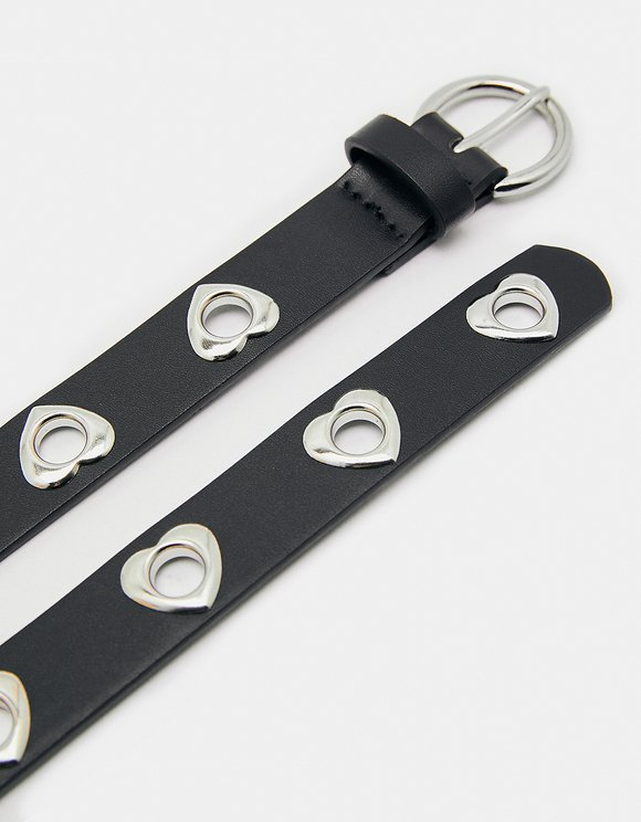 Black Belt with Heart Eyelets