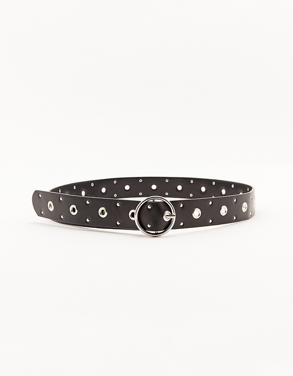 Faux Leather Studded Belt