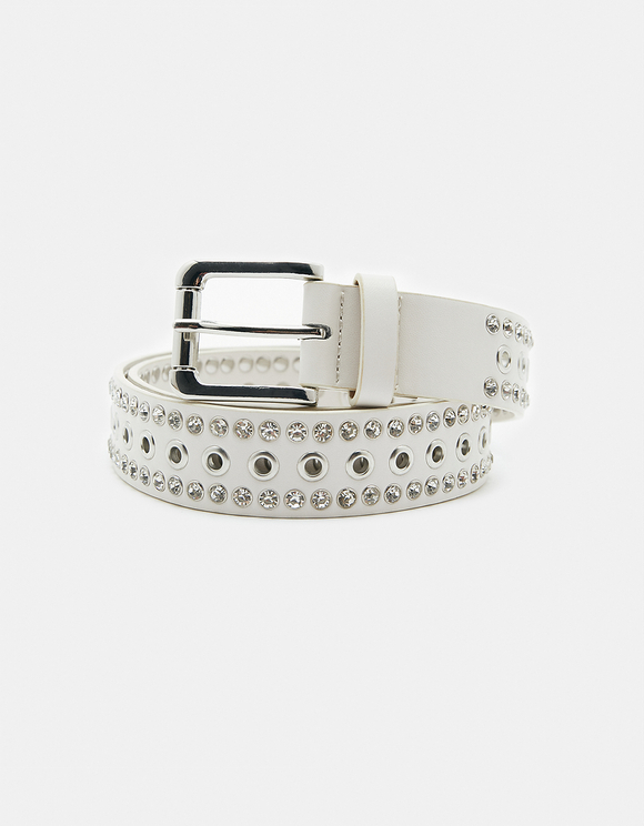 White Eyelet Belt with Rhinestones
