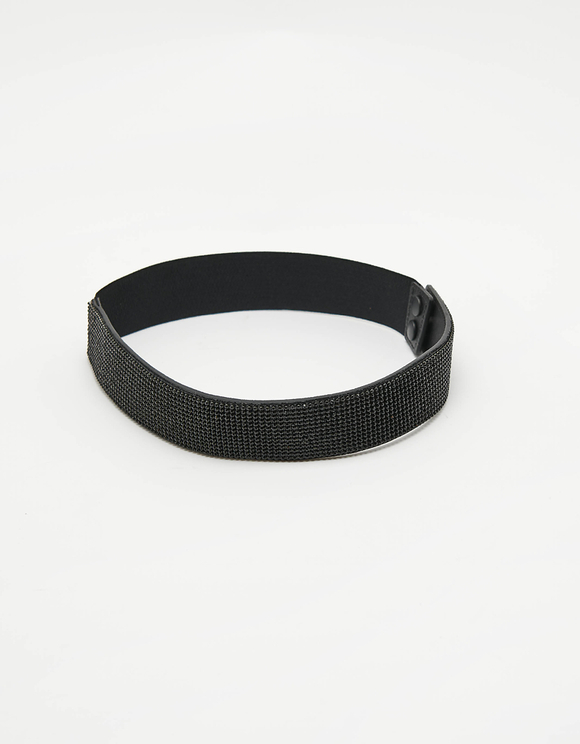 Black Wide Elastic Strass Belt