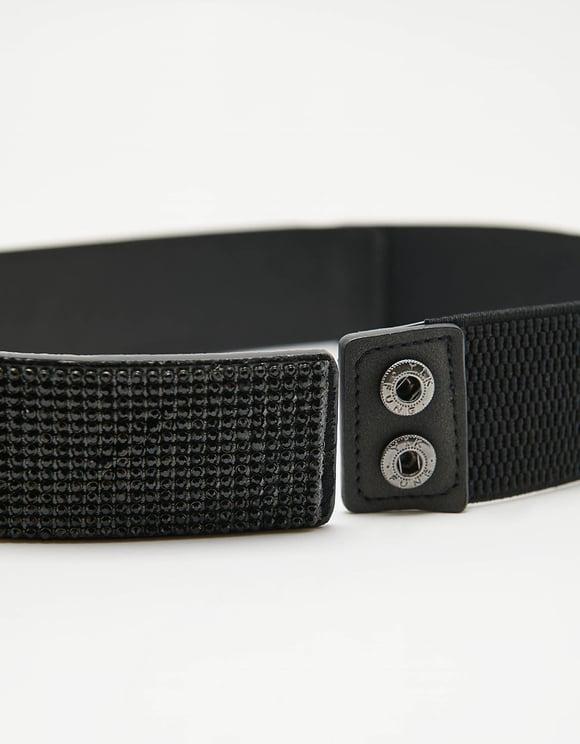 Schwarzer Gürtel mit Strass