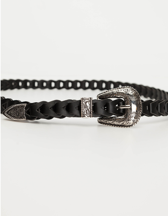 Black Western Braided Belt