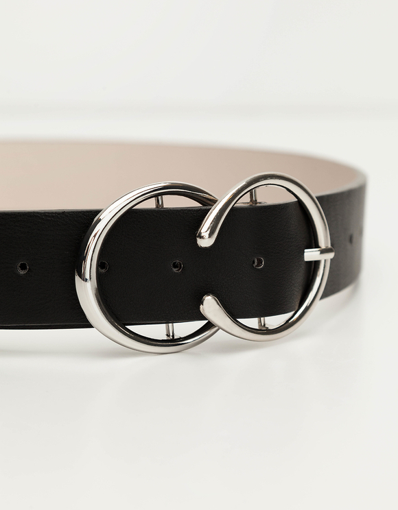 Black Belt with Round Buckles