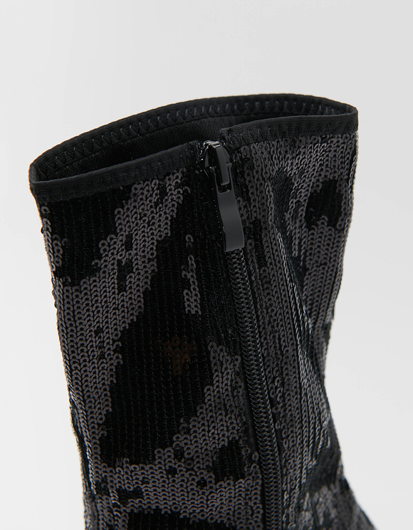 Bottines Noires en Sequins