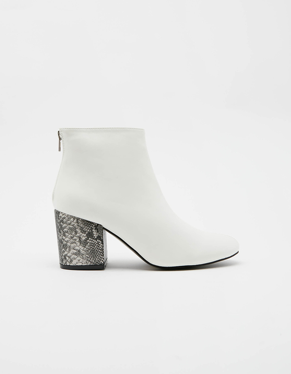 Bottines Blanches Talon Motif Serpent