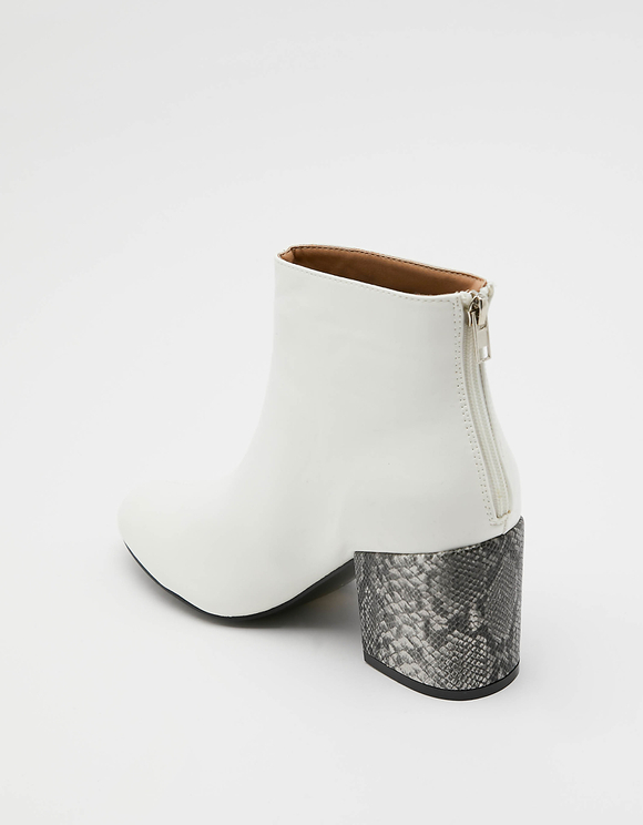 White Ankle Boots with Snake Print Heels